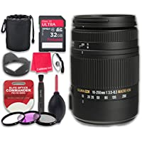 Sigma 18-250mm F3.5-6.3 DC Macro OS HSM for Canon with 32GB Ultra Pro Speed Class 10 SDHC Memory Card + 3pc Filter Kit (UV-FLD-CPL) + Deluxe Sleeve + Microfiber Cleaning Cloth - International Version