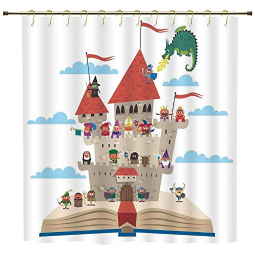 Shower Curtain,Kids,Fairy Tale Story Book Castle King Queen Princess Dragon Witch Knight Wizard Vikings Theme Print,Polyester Shower Curtains Bathroom Decor Sets with - Book Tale Fairy Guest Theme