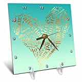 3dRose PS Inspiration - Image of Mint Green Gold Inspirational Words Heart - 6x6 Desk Clock (dc_280736_1)