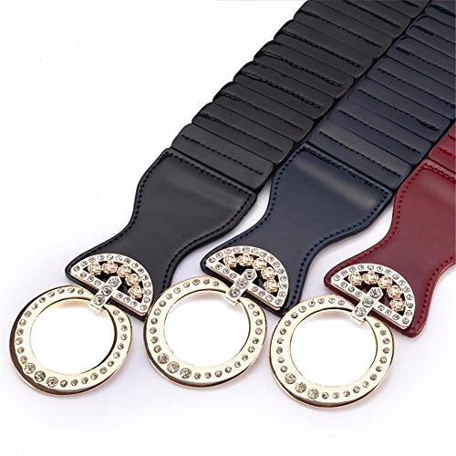 SAIBANGZI Ms Women All Seasons Elastic Waist Seal Fashion Matching Coat Belt Elastic Rhinestones Leather Decoration Girlfriend Present Blue 69-87Cm by SAIBANGZI (Image #1)