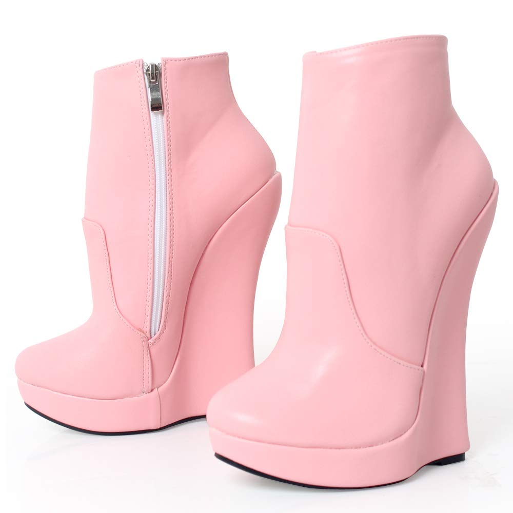 d55a4ab9632 Amazon.com | JiaLuoWei Women Ankle Boots High Wedge Heel Platform Solid Zip  Round Toe Sexy Fetish Boots 18cm High Heels | Ankle & Bootie