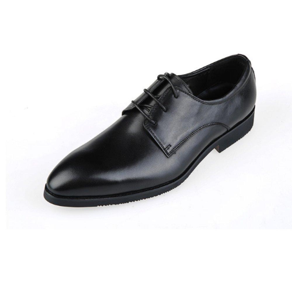 Oxford Negocios Casual Zapatos De Cuero para Hombres Zapatos De Inglaterra Zapatos con Cordones Apuntado Color Sólido Senderismo Cuero Zapatos Individuales 39 EU|Black