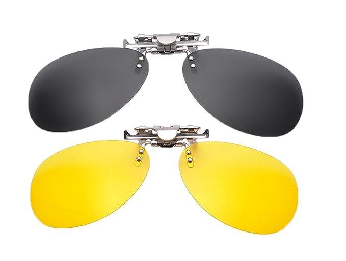 6afce7b37ab SOOLALA Mirrored Polarized Clip-on Flip up Stainless Steel Sunglasses Lenses
