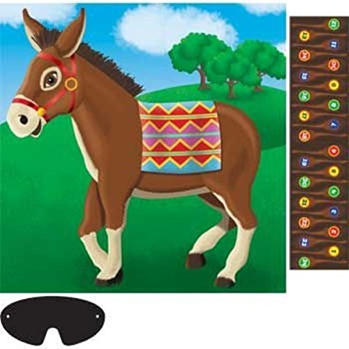 Amscan Carnival Fair Fun Pin The Tail On The Donkey Game Party Activity, Multicolor, 17