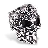 CICI TNASO Skull Rings for Men Women, Stainless Steel Punk Gothic Style Skull Biker Ring, Biomechan Skull King Design Jewelry Size 8-14, Best Gift, Super Personalized Style (10)
