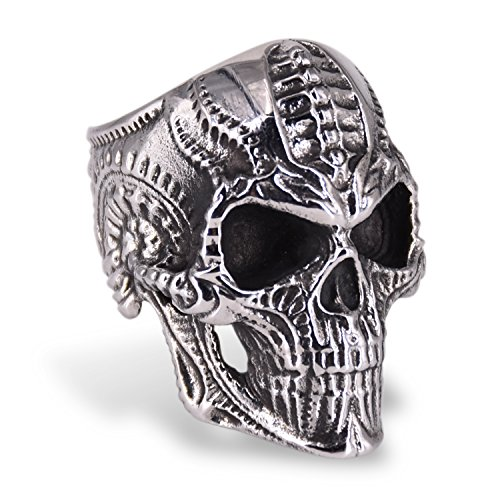 CICI TNASO Stainless Steel Skull Head Rings for Men Women, Biomechan Titanium Skull Biker Ring Punk Gothic Style, Jewelry Size 8-14, Best Gift
