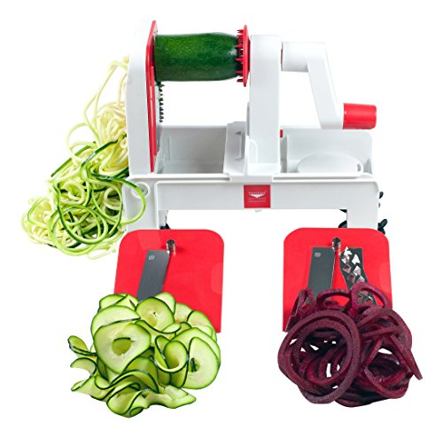 Paderno World Cuisine 3-Blade Folding Vegetable Slicer / Spiralizer Pro, Counter-Mounted and includes 3 Different Stainless Steel Blades (Cuisine World Tri Blade)