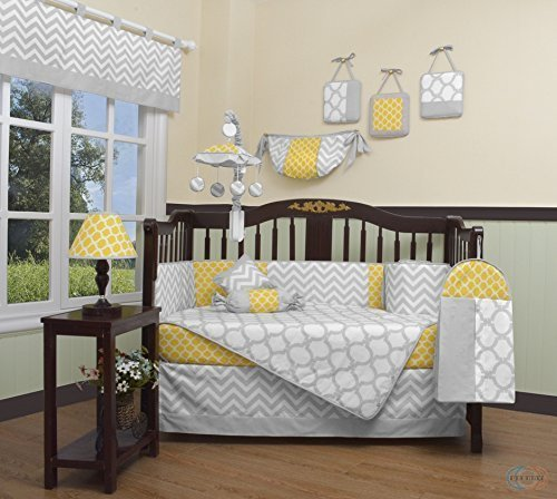 GEENNY Boutique Baby 13 Piece Crib Bedding Set, Yellow/Gray Chevron by GEENNY