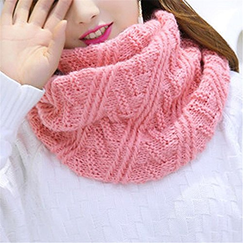 Kimloog Womens Reversible Thick Ribbed Knit Warm Neck Scarf Circle Infinity Loop Scarves (Pink)
