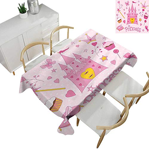 Kids Square Polyester Tablecloth Little Princess Tiara Slippers Fairy Castle Butterfly Heart Lollipop Wand Cupcake Girls Party Print 70