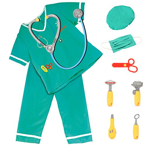 FunsLane Kids Doctor Costume Set Career Role Play with Surgeon Dress Accessories Kids Career Dress