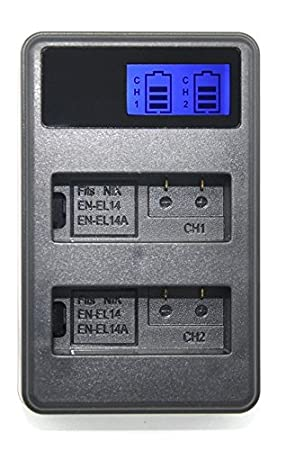 Theoutlettablet® Cargador Externo Doble para Batería EN-EL14 para ...