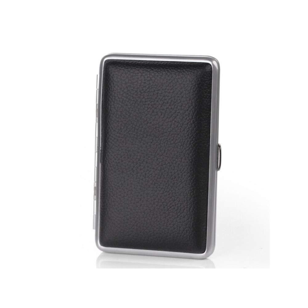 ZHONGYUE Leather Cigarette Case,14-Pack Ultra-Thin Portable, Leather Cigarette Case, Unisex, Stainless Steel Metal Cigarette Case, Black, Unique Design, Sturdy and Lightweight.
