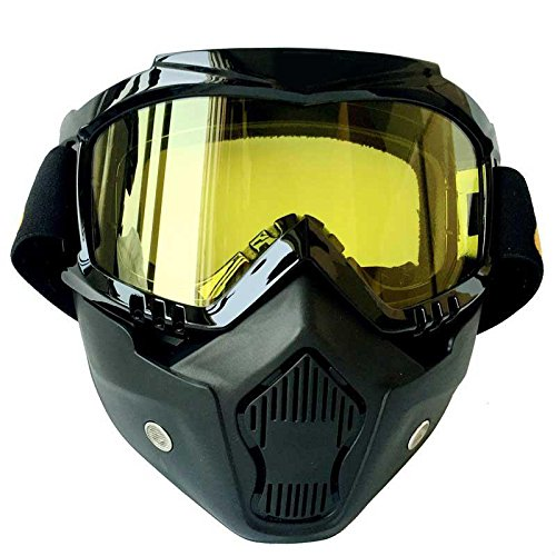 Shield Goggle Lens - Xinzhi Motorcycle Goggles -Anti-Fog Windproof Riding Detachable Modular Face Mask Shield Goggles,Protect Padding Mouth Filter for Motorcycle Helmet