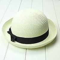 OULII Fashion Women's Girls Bowknot Roll-up Wide Brim Dome Straw Summer Sun Hat Bowler Beach Cap (Creamy White)