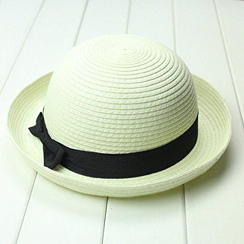 - OULII Fashion Women's Girls Bowknot Roll-up Wide Brim Dome Straw Summer Sun Hat Bowler Beach Cap (Creamy White)
