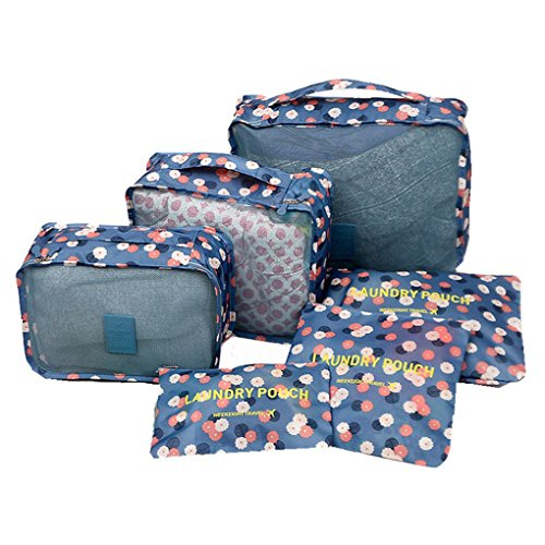 Storage Bag Travel Essential Bags-in-Bag Luggage Package Cosmetic Make-up Laundry Toiletry Case Pocket Clothes Shoe Lingerie Bra Underwear Storage Bag Packing Cubes Luggage Organizer -6 pcs by JIAHG