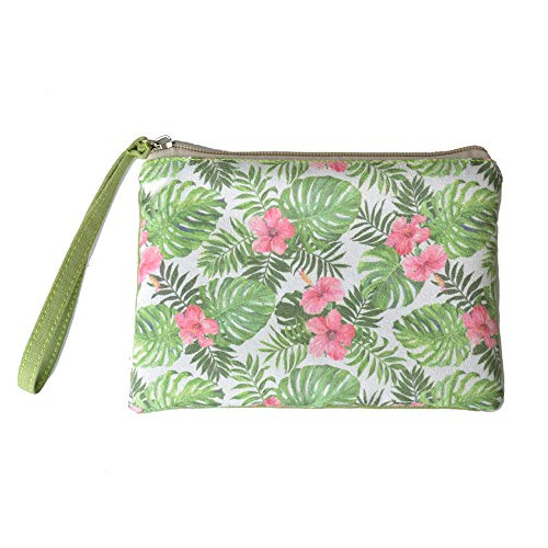 Rantanto Cute Canvas Cash Coin Purse, Make Up Bag, Cellphone Bag With Handle (BG0012 Monstera Leaves and Hibiscus)