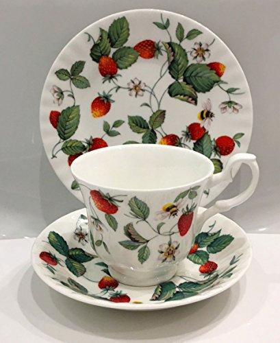 Roy Kirkham England 3-piece Alpine Strawberries Cup & Saucer with Dessert Plate (English Bone China Dessert Plate)