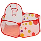 Kids Ball Pit EocuSun Polka Dot Portable Indoor and Outdoor Ball Tent Toddler Ball Pit with Basketball Hoop and Zippered Storage Bag for Toddlers, 39.4in/100cm, Balls not Included