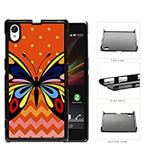 Colorful Art Butterfly with Orange Polka Dot and Chevron Pattern in Background Hard Snap on Phone Case Cover Sony Xperia Z1