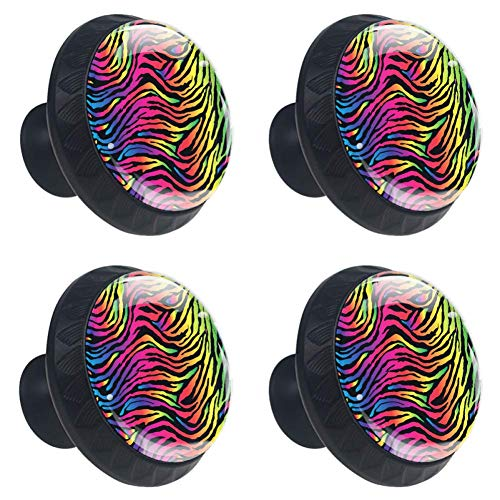 LORVIES Rainbow Zebra Print Drawer Knob Pull Handle Crystal Glass Circle Shape Cabinet Drawer Pulls Cupboard Knobs with Screws for Home Office Cabinet Cupboard (4 - Drawer Knobs Zebra