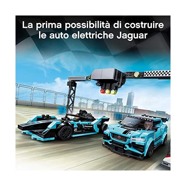 LEGO Speed Champions - Panasonic Jaguar Racing GEN2 e Jaguar I-PACE eTROPHY Modelli che Corrono in Formula E con 2… 5 spesavip