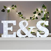 Freestanding Initials LED White Light Up Letters Letter Lights Wooden Letters Marquee Letters Wedding Letters (not Included) LED Marquee Sign (8 inches)
