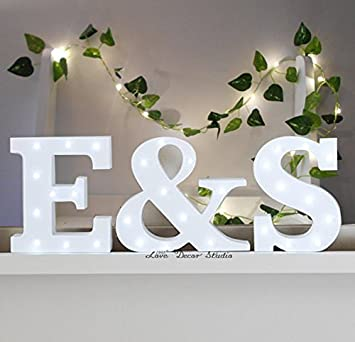 initials led white light up letters letter lights wooden letters marquee letters wedding letters - Marquee Letter Lights