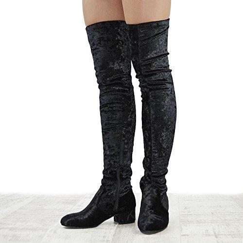 Essex Glam Dames Over De Knie Dikke Lage Hak Stretch Dij Hoge Laarzen Zwart Fluweel