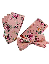 Mantieqingway Men's Cotton Floral Tie Narrow Neckties Pocket Square Bowtie Sets
