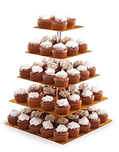 Eglaf Acrylic 5-Tier Gold Cupcake Stand Cakes and Desserts Display Tower/Food Display Platter for Wedding Party (5-Tier-Square-Gold) by Eglaf (Image #4)