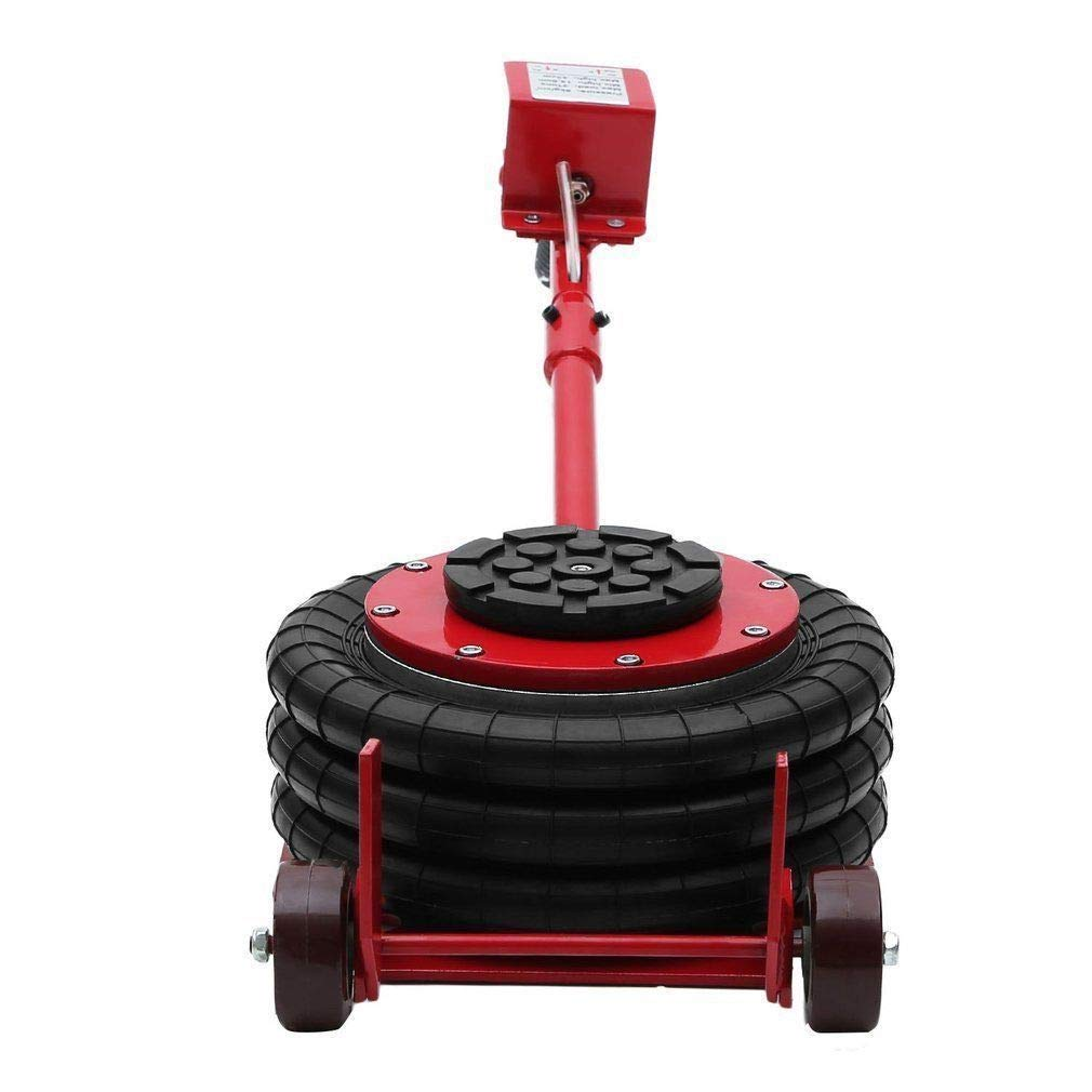 Mophorn Triple Bag Air Jack 3 Ton 6600lbs Pneumatic Car Jack Red Portable Lifting Up to 16 Inch
