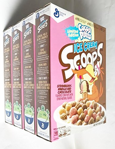 07 Cocoa (Limited Edition Cocoa Puffs Ice Cream Scoops Strawberry Vanilla & Chocolate Cereal - 10.8 oz. (Pack of 4))