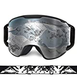 Extra Mile Ski Goggles, Snow Sports Goggles Snowboard Snowmobile Skate Motorcycle Riding, Dustproof Scratch Resistant, Double Anti Fog...