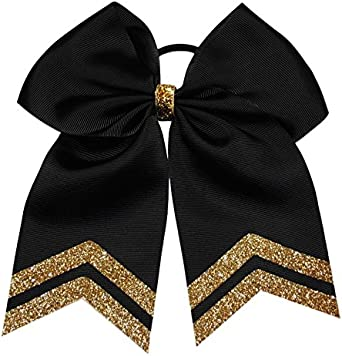 """3/"""" Inch Gold and White Ombre Printed on Grosgrain Cheer Bow Ribbon"""