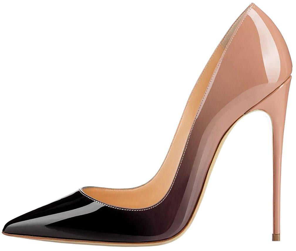 Calaier Mujer Cause Tacón de Aguja 12CM Sintético Ponerse Zapatos de Tacón 41 EU Varios colores C