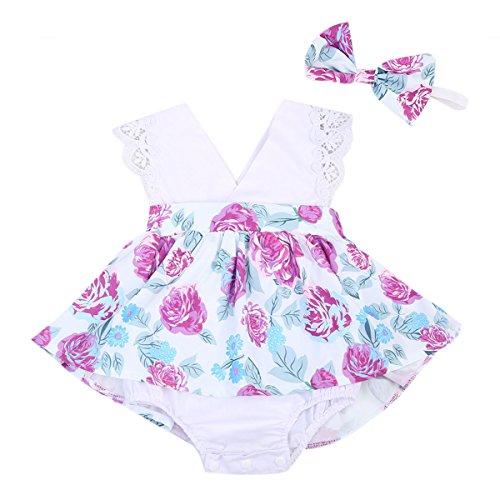 Baby Boys Girls Cotton Romper Bodysuit Jumpsuit Outfits Clothing Set (Blue) - 5