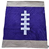 Cozy Wozy Football Themed Minky Baby Blanket, Purple/Tan, 30'' x 36''