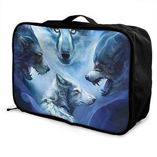 Portable Luggage Duffel Bag Wolves Travel Bags Carry-on In Trolley Handle