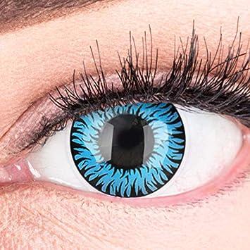 Lentillas de color azul Werewolf Blue 1 par. Calidad superior para Halloween Carnaval, carnaval de Halloween, gratis estuche de lentillas sin graduación: Amazon.es: Salud y cuidado personal