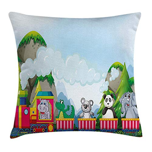 Kids Throw Pillow Cushion Cover, Various Animals Riding on Train in The Park with Mountains Cartoon Style Illustration, Decorative Square Accent Pillow Case, 18 X 18 Inches, Multicolor ()