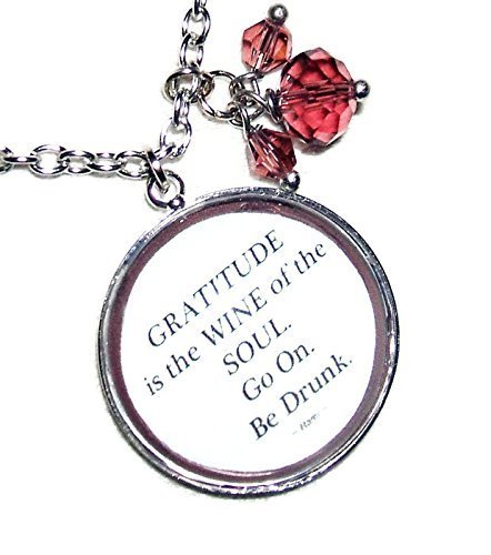 GRATITUDE Necklace GLASS Pendant Silver Pltd QUOTE Meaningful Words WINE FOR THE SOUL ()
