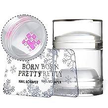 Born Pretty Nail Art Dual Clear Jelly Stamper Silicone Head with Rhinestone Cap and 2 Scrapers Manicure Nail Art Tool Transparent Soft Stamper and Scraper Set