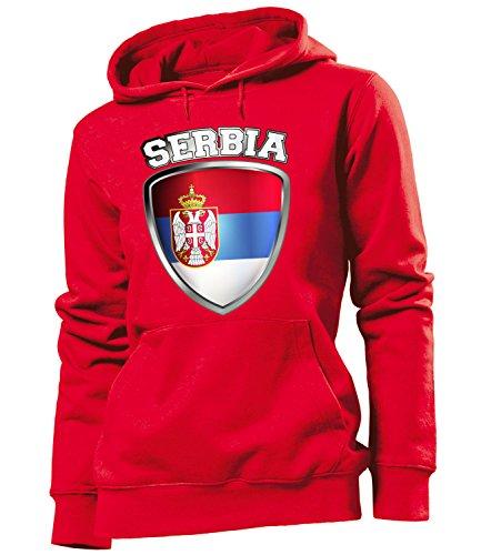 Copa del Mundo de fútbol - Campeonato de Europa de Fútbol - SERBIA FAN mujer Capucha Tamaño S to XXL varios colores S-XXL Rojo