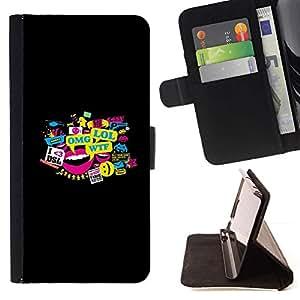 Momo Phone Case / Flip Funda de Cuero Case Cover - Meme Typography - Lol Omg Wtf Dsl - Samsung Galaxy S6