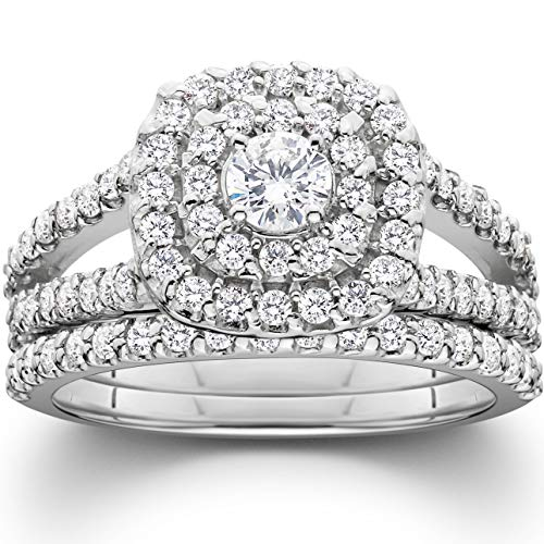 1 1/10ct Cushion Halo Diamond Engagement Wedding Ring Set 10K White Gold - Size 8.5