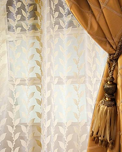 The Silk Cocoon Pure Silk Organdy /Organza Jacquard Woven Living Room 52″ wide Window Sheer Curtain Panel 52″W X 120″L