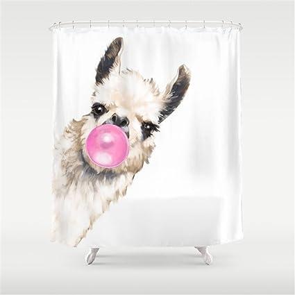 Weeya Bubble Gum Sneaky Llama Shower Curtain 60x72 Inch