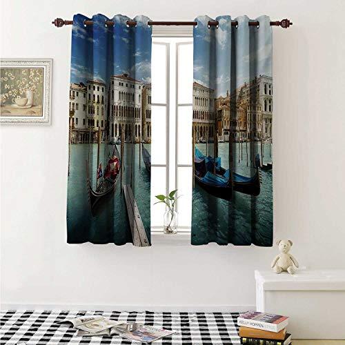shenglv Italian Blackout Draperies for Bedroom Gondolas in The Venetian Adriatic Lagoon Historical Venezia Photo Curtains Kitchen Valance W72 x L63 Inch Blue Sand Brown Almond Green (Furniture Gondola)
